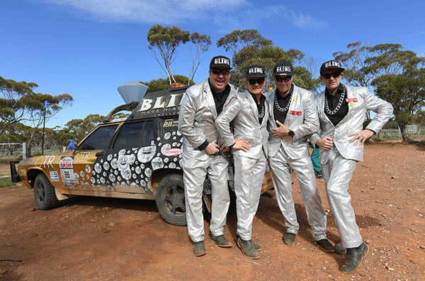 Bashers posing in the outback