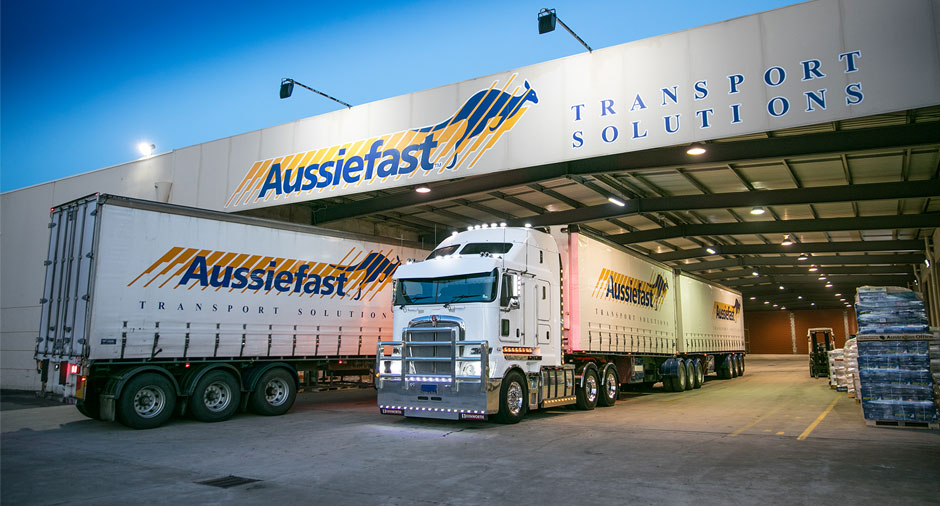 <p>B-double truck at Aussiefast depot</p>